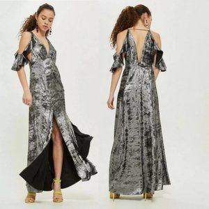 Topshop Silver Metallic Deep V Maxi Dress 6